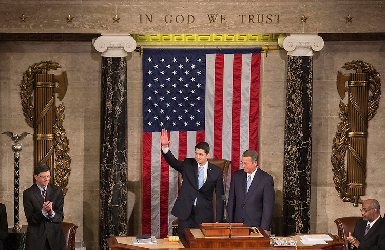 UNITED STATES - OCTOBER 29 - Incoming Speaker Paul Ryan, R-Wis., waves to members of Congress alongside outgoing Speaker John Boehner, R-Ohio, in the House Chambers of the U.S. Capitol in Washington, Thursday, October 29, 2015. (Photo By Al Drago/CQ Roll Call)
