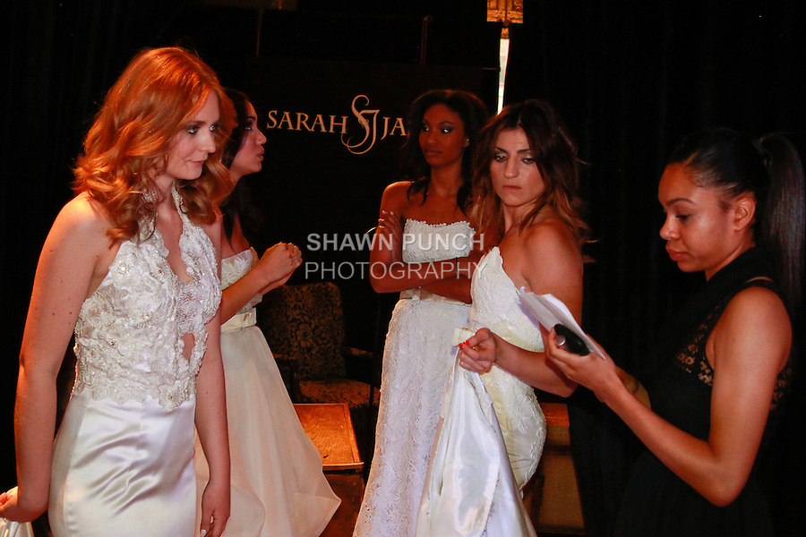Backstage preperation for the Sarah Jassir Couture Bridal Fall 2012 Opulence collection fashion show at 45 East 34th Street, October 16, 2011.