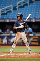 Jelfry Marte (5) at bat during the Tampa Bay Rays Instructional League Intrasquad World Series game on October 3, 2018 at the Tropicana Field in St. Petersburg, Florida.  (Mike Janes/Four Seam Images)