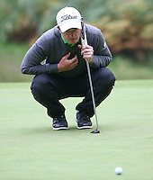 Paul Dunne (IRL) missing birdie putt on the 11th during the Final Round of the British Masters 2015 supported by SkySports played on the Marquess Course at Woburn Golf Club, Little Brickhill, Milton Keynes, England.  11/10/2015. Picture: Golffile | David Lloyd<br /> <br /> All photos usage must carry mandatory copyright credit (&copy; Golffile | David Lloyd)