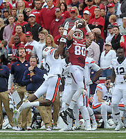 NWA Democrat-Gazette/MICHAEL WOODS • @NWAMICHAELW<br /> University of Arkansas receiver Drew Morgan tries to make a catch in front of an Auburn defender during Saturdays game October, 24, 2015 against Auburn at Razorback Stadium in Fayetteville.