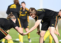 20190226 - LARNACA , CYPRUS :  Belgian Heleen Jaques (r) pictured during a Matchday -1 training from The Belgian Red Flames prior to their game against the women team of Slovakia , on Tuesday 26 February 2019 at the Alpha Sports Grounds in Larnaca , Cyprus . This will be the first game in group C for Belgium during the Cyprus Womens Cup 2019 , a prestigious women soccer tournament as a preparation on the European Championship 2021 qualification duels. PHOTO SPORTPIX.BE | DAVID CATRY