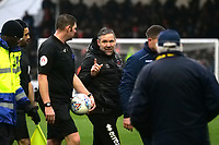 Blackpool caretaker manager David Dunn has words with Referee Brett Huxtable at the end of the first half <br /> <br /> Photographer Ian Cook/CameraSport<br /> <br /> The EFL Sky Bet League One - Bristol Rovers v Blackpool - Saturday 15th February 2020 - Memorial Stadium - Bristol<br /> <br /> World Copyright © 2020 CameraSport. All rights reserved. 43 Linden Ave. Countesthorpe. Leicester. England. LE8 5PG - Tel: +44 (0) 116 277 4147 - admin@camerasport.com - www.camerasport.com