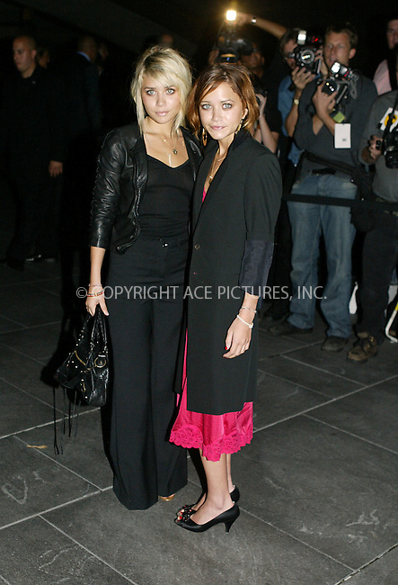 Mary Kate and Ashley Olsen attended the Coty 100th Anniversary Party ate the American Museum of Natural History in New York City. Sept 12 2004.Please byline: PHILIP VAUGHAN/ACEPIXS.com..*PAY-PER-USE*....IMPORTANT: Please note that our old trade name New York Photo Press has changed to ACE Pictures. New York Photo Press and ACE Pictures are both owned by All Celebrity Entertainment, Inc.......All Celebrity Entertainment, Inc..Contact: Alecsey Boldeskul, (646) 267 6913..Philip vaughan, (646) 769 0430..e-mail: info@acepixs.com..Philip.Vaughan@acepixs.com