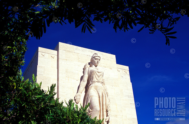 Statue at Punchbowl Memorial on the Island of Oahu