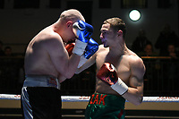 Zak Chelli (green shorts) defeats Przemyslaw Binienda during a Boxing Show at York Hall on 2nd March 2018