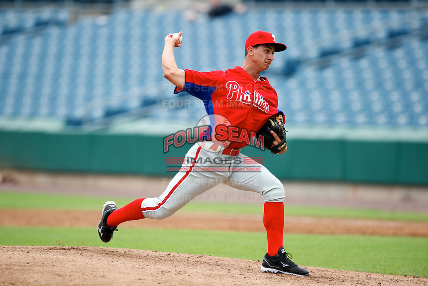 AJ Bogucki #25 of Boyertown Area High School in Boyertown, Pennsylvania playing for the Philadelphia Phillies scout team during the East Coast Pro Showcase at Alliance Bank Stadium on August 2, 2012 in Syracuse, New York.  (Mike Janes/Four Seam Images)