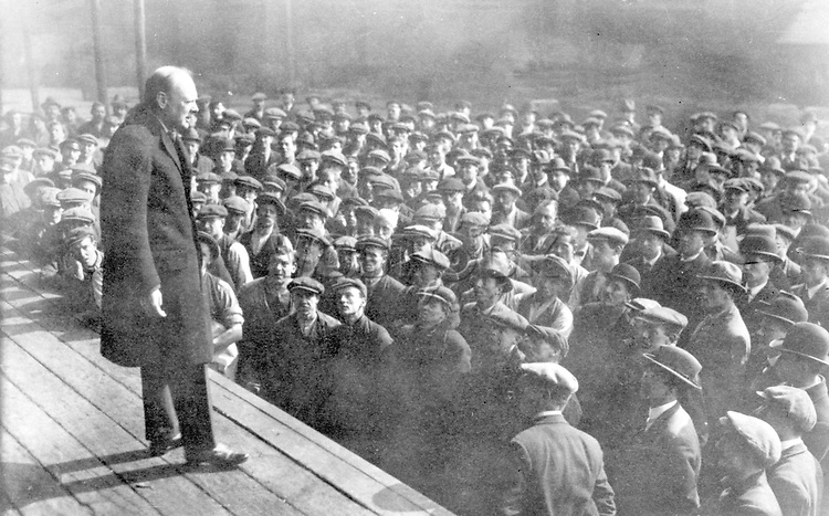 Sir Winston Churchill addressing workers in 1924