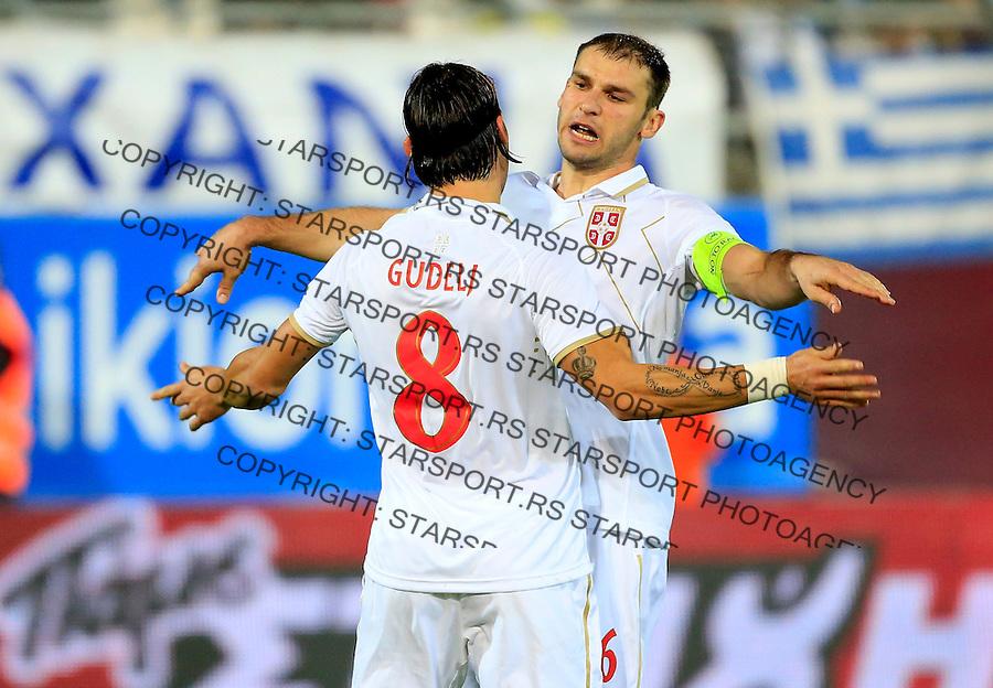 Fudbal<br /> Prijateljski mec-Friendly match<br /> Srbija v Grcka<br /> Nemanja Gudelj (L) celebrate his goal with the Branislav Ivanovic<br /> Chania, 18.11.2014.<br /> foto: Srdjan Stevanovic/Starsportphoto &copy;