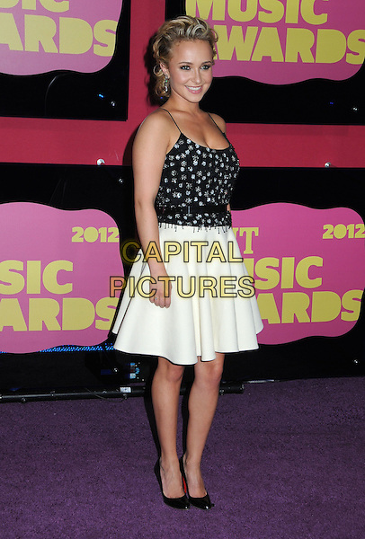 Hayden Panettiere.2012 CMT Music Awards held at Bridgestone Arena, Nashville, Tennessee, USA..June 6th, 2012.full length black white skirt top beads beaded belt.CAP/ADM/LF.©Laura Farr/AdMedia/Capital Pictures.