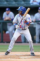 Round Rock Express outfielder Endy Chavez #5 at bat during a game versus the Memphis Redbirds at Autozone Park on April 28, 2011 in Memphis, Tennessee.  Memphis defeated Round Rock by the score of 6-5 in ten innings.  Photo By Mike Janes/Four Seam Images