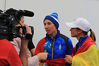 Carlota Ciganda and Azahara Munoz in the interview room after the Solheim Cup 2019 at Gleneagles Golf CLub, Auchterarder, Perthshire, Scotland. 15/09/2019.<br /> Picture Thos Caffrey / Golffile.ie<br /> <br /> All photo usage must carry mandatory copyright credit (© Golffile | Thos Caffrey)