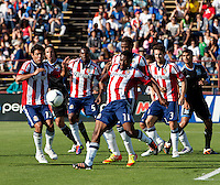 Santa Clara, California - Sunday May 13th, 2012: Michael Lahoud of Chivas USA kicks the ball out of trouble during a Major League Soccer match against San Jose Earthquakes at Buck Shaw Stadium