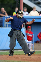 August 3rd 2008:  Home plate umpire Jose Esteras during a game at Dwyer Stadium in Batavia, NY.  Photo by:  Mike Janes/Four Seam Images