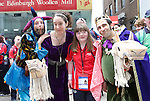 Laura Ahern from Cork pictured with Jester AKA Jonathan Gunning, Queen AKA Helen Gregg &amp; King ALA Miquel Barcelo  at the Start of the Parade to officially start the Special Olympics in Limerick over the Next 3 Days.<br /> Picture  Credit Brian Gavin Press 22