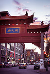Chinatown entrance gate on Boulevard Saint Laurent in old town Montreal, Quebec, Canada at sunset. Boulevard Saint-Laurent, Ville de Montréal, Québec, Canada 2017.