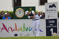 Sergio Garcia (ESP) tees off the 1st tee during Sunday's storm delayed Final Round 3 of the Andalucia Valderrama Masters 2018 hosted by the Sergio Foundation, held at Real Golf de Valderrama, Sotogrande, San Roque, Spain. 21st October 2018.<br /> Picture: Eoin Clarke | Golffile<br /> <br /> <br /> All photos usage must carry mandatory copyright credit (&copy; Golffile | Eoin Clarke)