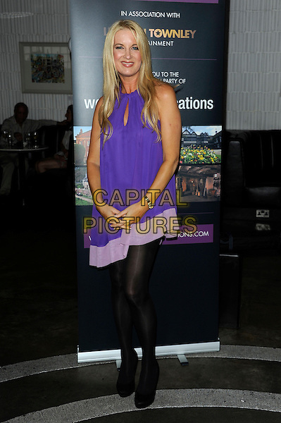 Gaynor Morgan.Welch Morgan Locations launch party at The Collection, Brompton Road, London, England.June 28th 2012.full length purple dress black tights .CAP/CJ.©Chris Joseph/Capital Pictures.