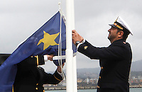 Cerimonia di dismissione del Comando  Marittimo alleato di Napoli.dopo 40 anni il comando delle forze navali NATO lascia l'isola di Nisida per  spostarsi  a Northwood in inghilterra .nella foto... the deactivation ceremony of the headquarters of the Allied Maritime Command Naples, on the island of Nisida, in the Gulf of Naples, southern Italy, Wednesday, March 27, 2013. After over forty years of service to the NATO Alliance, the Allied Maritime Command Naples will close and its operations will be transferred to NATO's new maritime command in Northwood, United Kingdom....