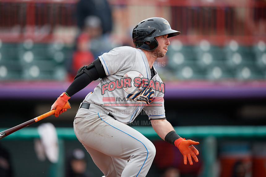 Akron RubberDucks Logan Ice (9) hits a single during an Eastern League game against the Erie SeaWolves on June 2, 2019 at UPMC Park in Erie, Pennsylvania.  Akron defeated Erie 7-2 in the first game of a doubleheader.  (Mike Janes/Four Seam Images)