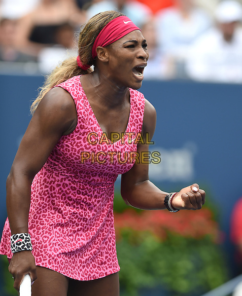 FLUSHING NY- AUGUST 30:  Serena Williams Vs. Varvara Lepchenko on Arthur Ashe Stadium at the USTA Billie Jean King National Tennis Center. Serena Williams reacts during her match against Varvara Lepchenko. Williams defeated Lepchenko in striaght sets on August 30, 2014 in Flushing Queens. <br /> CAP/MPI/MPI04<br /> &copy;MPI04/MPI/Capital Pictures