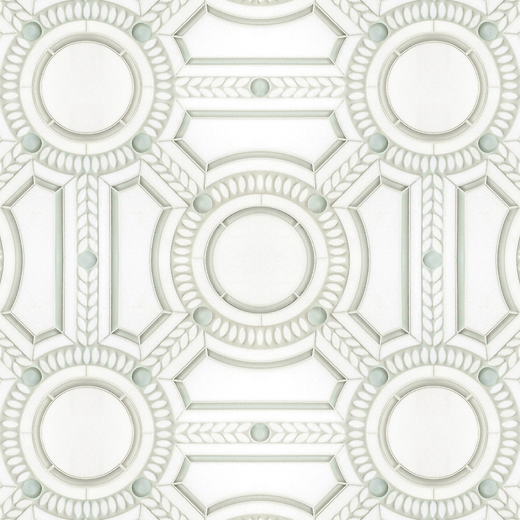 Augustus, a stone and glass waterjet mosaic, shown in Thassos honed, Thassos tumbled, and Tropical White glass, is part of the Parterre Collection by New Ravenna.