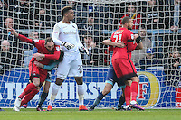 A battle for space in the penalty box while waiting for a corner to be take by Leyton Orient during the Sky Bet League 2 match between Wycombe Wanderers and Leyton Orient at Adams Park, High Wycombe, England on 17 December 2016. Photo by David Horn / PRiME Media Images.