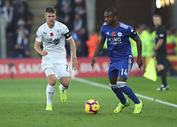 Burnley's Johann Gu_mundsson and Leicester City's Ricardo Pereira<br /> <br /> Photographer Rachel Holborn/CameraSport<br /> <br /> The Premier League - Saturday 10th November 2018 - Leicester City v Burnley - King Power Stadium - Leicester<br /> <br /> World Copyright &copy; 2018 CameraSport. All rights reserved. 43 Linden Ave. Countesthorpe. Leicester. England. LE8 5PG - Tel: +44 (0) 116 277 4147 - admin@camerasport.com - www.camerasport.com