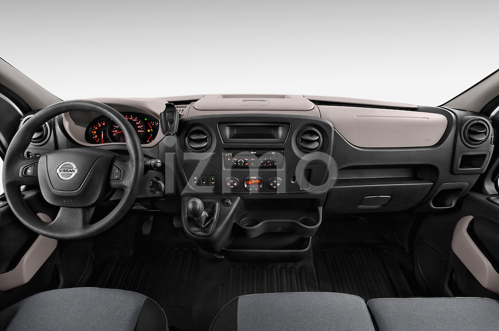 Stock photo of straight dashboard view of2015 Nissan NV 400 Business 4 Door Cargo Van Dashboard