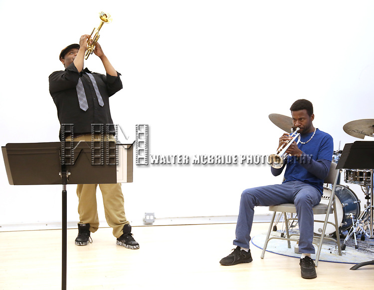 """Juson Williams and Yamin Mustafa During the Open Rehearsal for the Miami New Drama's World Premiere Musical  """"A Wonderful World"""" at the Ripley-Grier Studios on January 26, 2020 in New York City."""