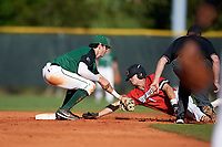 Dartmouth Big Green shortstop Nate Ostmo (5) tags Mason Koppens (1) out attempting to steal second base during a game against the Northeastern Huskies on March 3, 2018 at North Charlotte Regional Park in Port Charlotte, Florida.  Northeastern defeated Dartmouth 10-8.  (Mike Janes/Four Seam Images)