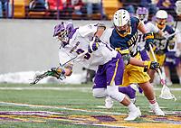 University at Albany Men's Lacrosse defeats Drexel 18-5 on Feb. 24 at Casey Stadium.  T.D. Ierlan (#3) wins a faceoff. (Photo by Bruce Dudek / Cal Sport Media/Eclipse Sportswire)