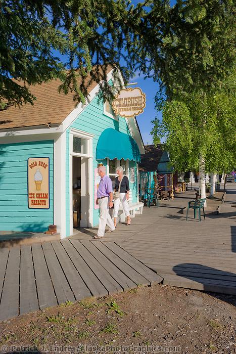 Visitors enjoy the Historic Pioneer park in Fairbanks, Alaska.