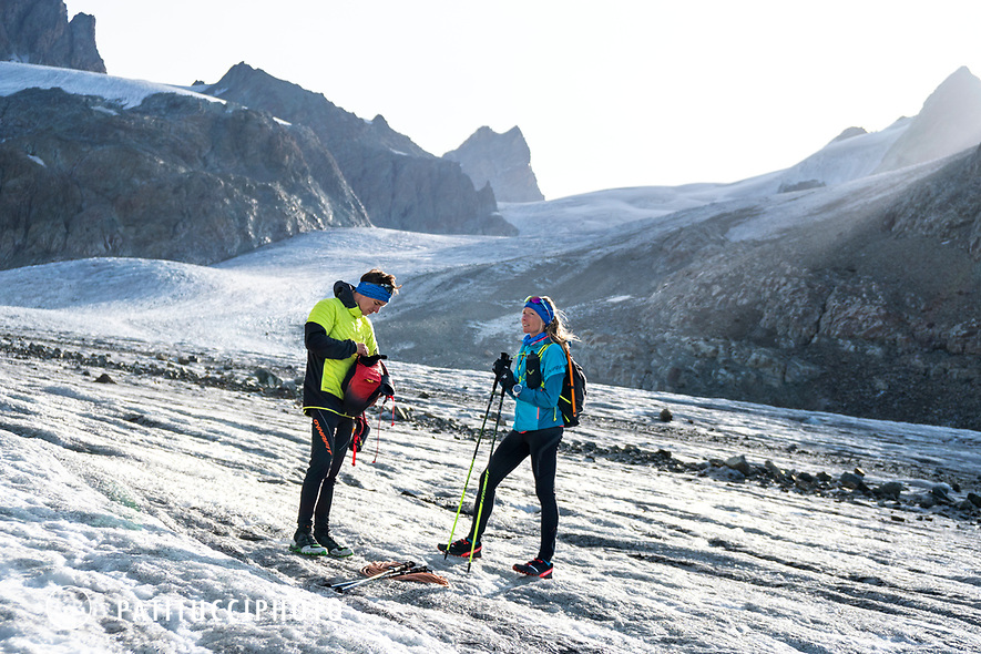 The Chamonix to Zermatt Glacier Haute Route. In late August 2017, we ran the tour in mountain running gear, running shoes, and all the necessary glacier travel and crevasse rescue gear.  Taking a break on the Glacier d'Otemma.