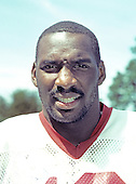 Washington Redskins quarterback Doug Williams (17) at the team's training camp Dickinson College in Carlisle, Pennsylvania on August 1, 1986.<br />