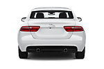 Straight rear view of a 2019 Jaguar XE  Base 4 Door Sedan stock images