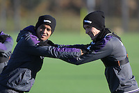(L-R) Kyle Naughton and Jay Fulton stretch during the Swansea City Training at The Fairwood Training Ground, Swansea, Wales, UK. Wednesday 30 November 2016