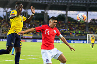 PEREIRA, COLOMBIA - JANUARY 18: Chile's Tomas Alarcon, (R) fights for the ball  against Ecuador's Alejandro Cabeza during their CONMEBOL Preolimpico soccer game at the Hernan Ramirez Villegas Stadium on January 18, 2020 in Pereira, Colombia. (Photo by Daniel Munoz/VIEW press/Getty Images)