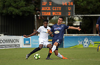Team Wellington's Nathanael Hailemariam and Auckland's Te Atawhai Hudson-Wihongi compete for the ball during the 2018 OFC Champions League semifinal between Auckland City FC and Team Wellington at Kiwitea St in Auckland, New Zealand on Sunday, 29 April 2018. Photo: Dave Lintott / lintottphoto.co.nz