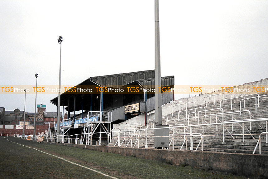 General view of Bishop Auckland FC Football Ground, Kingsway, Bishop Auckland, County Durham, pictured on 7th April 1996