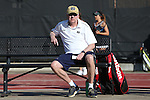 24 March 2016: Notre Dame head coach Jay Louderback. The North Carolina State University Wolfpack hosted the University of Notre Dame Fighting Irish at the J.W. Isenhour Tennis Center in Raleigh, North Carolina in a 2015-16 NCAA Division I Women's Tennis match. NC State won the match 4-3.