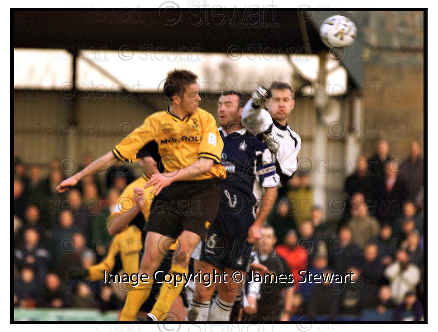 13th January 2001         Copyright Pic : James Stewart .Ref :                           .File Name : stewart08-falkirk v livingston                        .DAVID BINGHAM HEADS OVER AS DAVID NICHOLLS AND MYLES HOGARTH MAKES THE CHALLENGE....Payments to :-.James Stewart Photo Agency, Stewart House, Stewart Road, Falkirk. FK2 7AS      Vat Reg No. 607 6932 25.Office : +44 (0) 1324 630007      Mobile : 07721 416997.Fax     : +44 (0) 1324 630007.E-mail : jim@jspa.co.uk.If you require further information then contact Jim Stewart on any of the numbers above.........