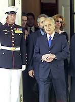 Foreign Minister Shimon Peres of Israel departs the White House to meet reporters following his meeting with United States President George W. Bush on May 3, 2001.<br /> Credit: Ron Sachs / CNP /MediaPunch