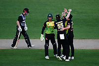 Ashton Agar of Australia celebrates with teammates for the wicket of Kane Williamson of New Zealand. New Zealand Black Caps v Australia, Final of Trans-Tasman Twenty20 Tri-Series cricket. Eden Park, Auckland, New Zealand. Wednesday 21 February 2018. © Copyright Photo: Anthony Au-Yeung / www.photosport.nz