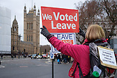 Vote Leave.  Pro Brexit protesters demonstrate outside the Houses of Parliament on the day MPs voted decisively to reject Theresa May's withdrawal deal with the EU.  Westminster, London.