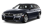 2017 BMW 3-Series 328d-Sports-Wagon 5 Door Wagon Angular Front stock photos of front three quarter view