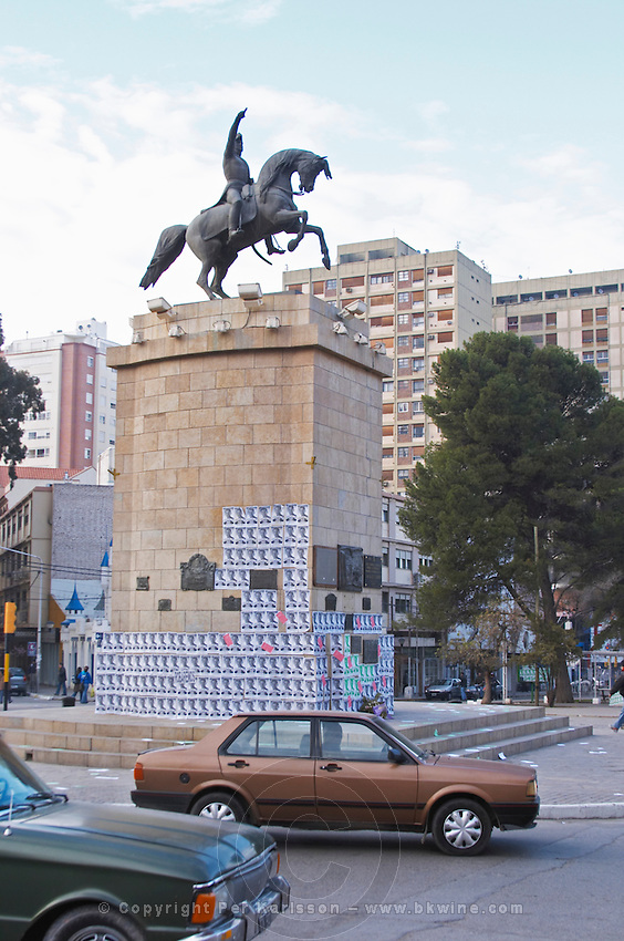 Statue on the main street of General San Martin on horseback, horse equestrian. Neuquen, Patagonia, Argentina, South America