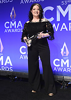 NASHVILLE, TN - NOVEMBER 13:  Ashley McBryde in the press room at the 53rd Annual CMA Awards at the Bridgestone Arena on November 13, 2019 in Nashville, Tennessee. (Photo by Scott Kirkland/PictureGroup)