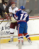 Brian Dumoulin (BC - 2), Josh Holmstrom (Lowell - 12) - The Boston College Eagles defeated the visiting University of Massachusetts-Lowell River Hawks 5-3 (EN) on Saturday, January 22, 2011, at Conte Forum in Chestnut Hill, Massachusetts.