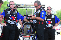 May 6, 2012; Commerce, GA, USA: NHRA crew members for top fuel dragster driver Antron Brown during the Southern Nationals at Atlanta Dragway. Mandatory Credit: Mark J. Rebilas-